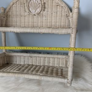 Vintage Wall Art - Vintage White Seashell Wicker Shelf hang or stand
